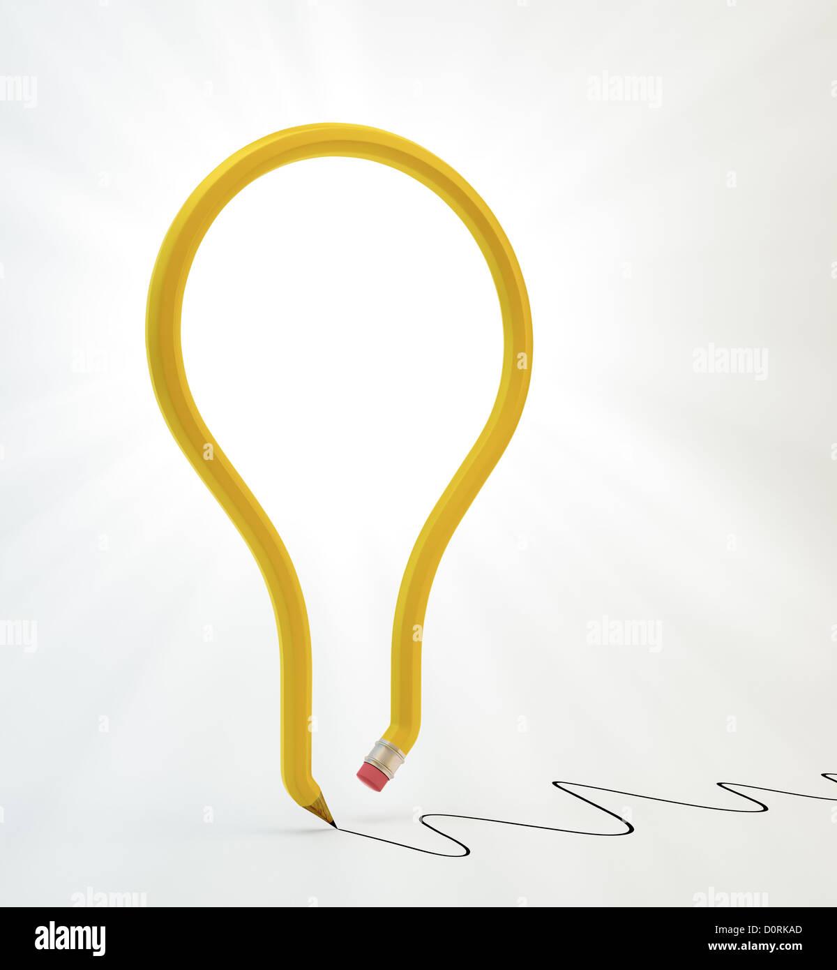 Glühbirne-Bleistift Stockfoto