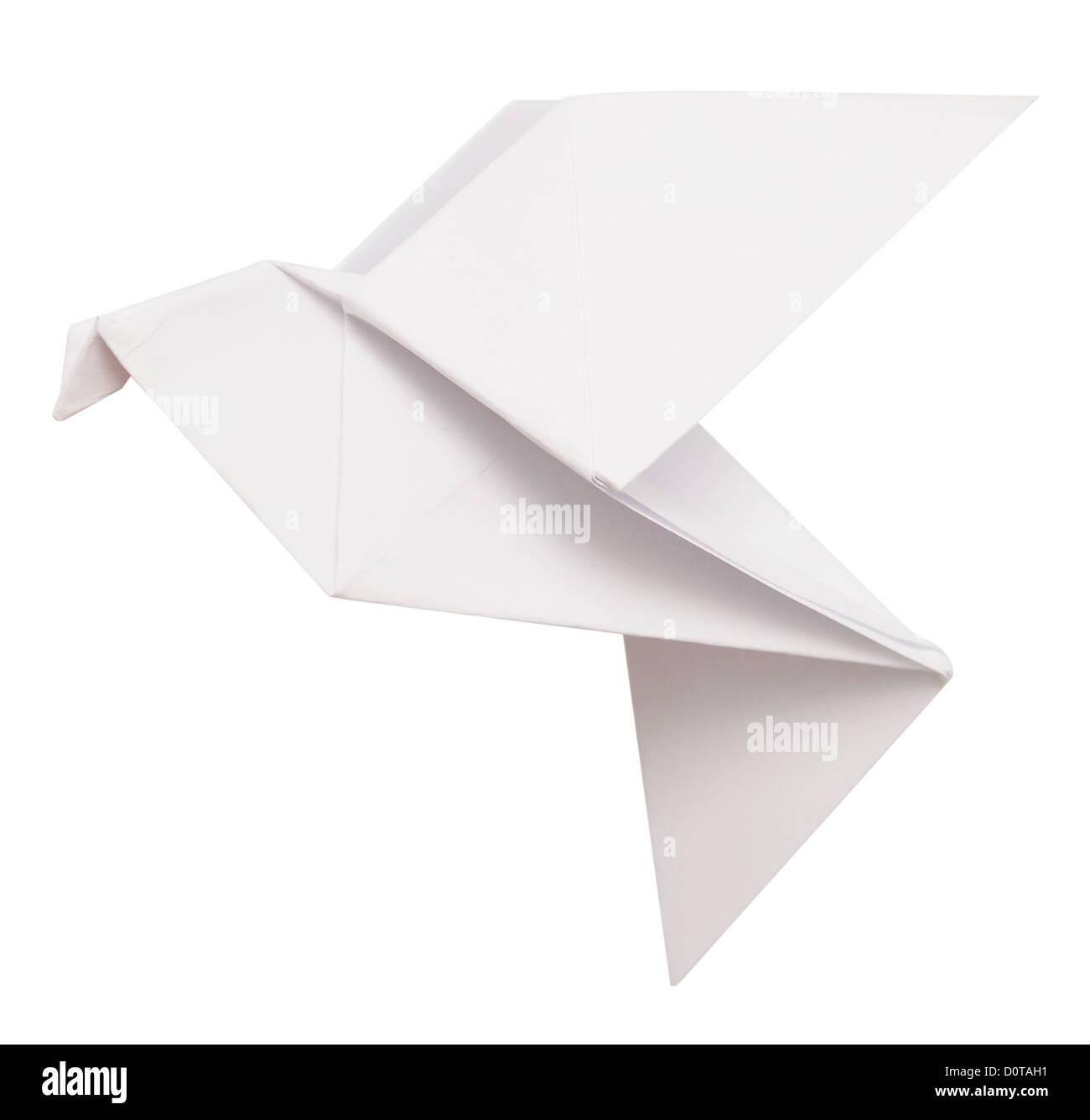Origami Taube isoliert auf weiss Stockbild