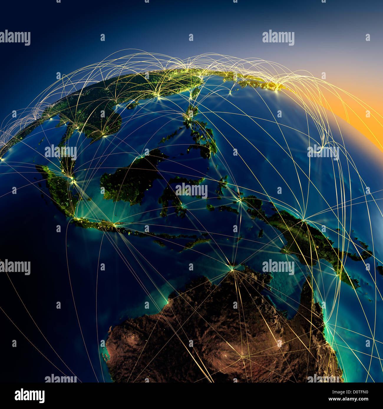 Wichtigsten Flugrouten in Australien und Ozeanien Stockbild