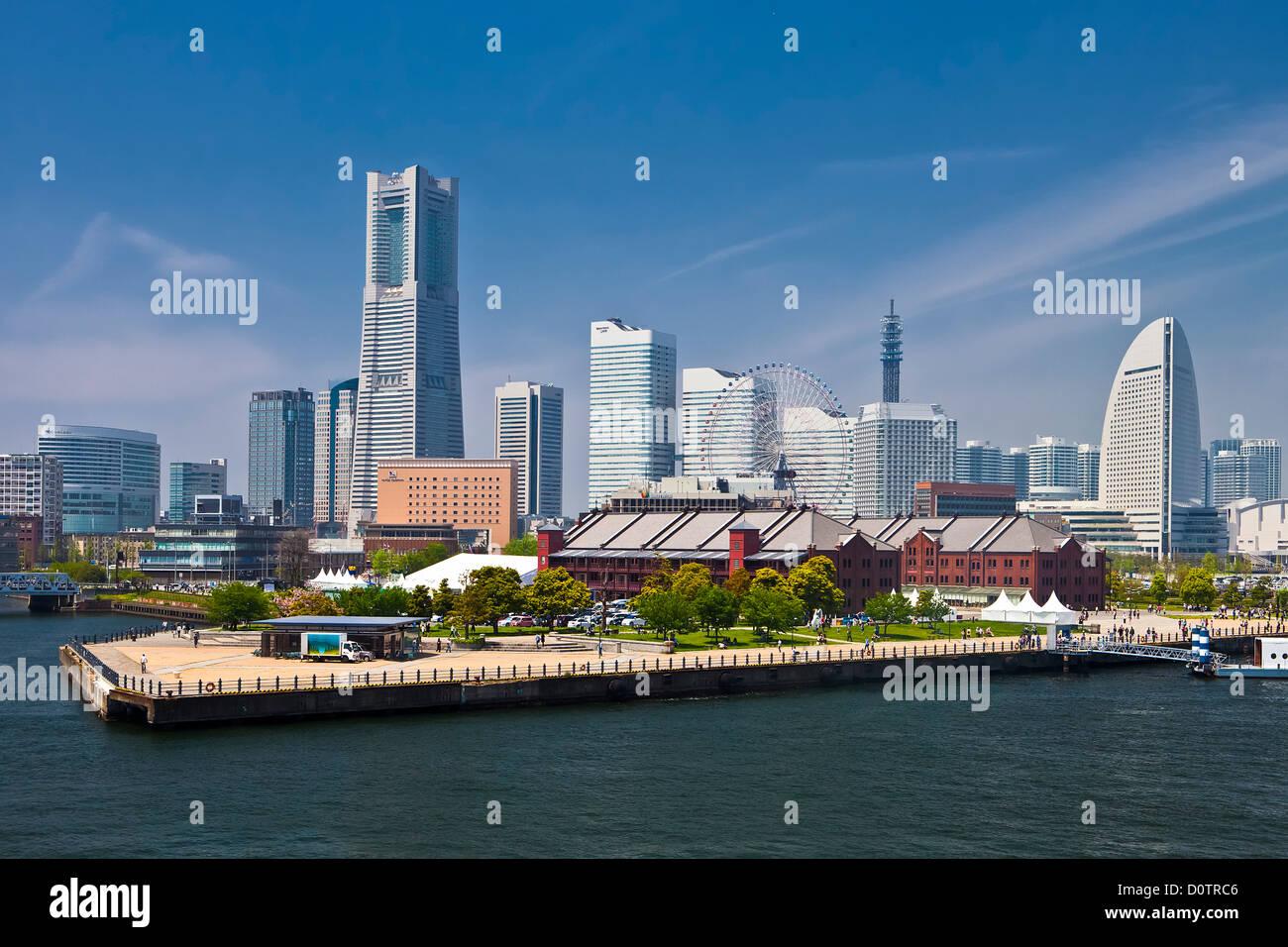 Japan, Asien, Urlaub, Reisen, Yokohama, Stadt, Skyline von Yokohama, Wahrzeichen, Gebäude, Hafen, Hafen Stockbild