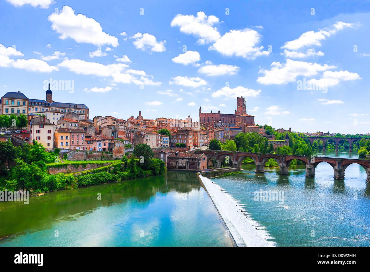 Frankreich, Europa, Reisen, Albi, Saint Cecile, Kathedrale, Welterbe, Brücke, Fluss, Architektur, Brücke, Stockbild