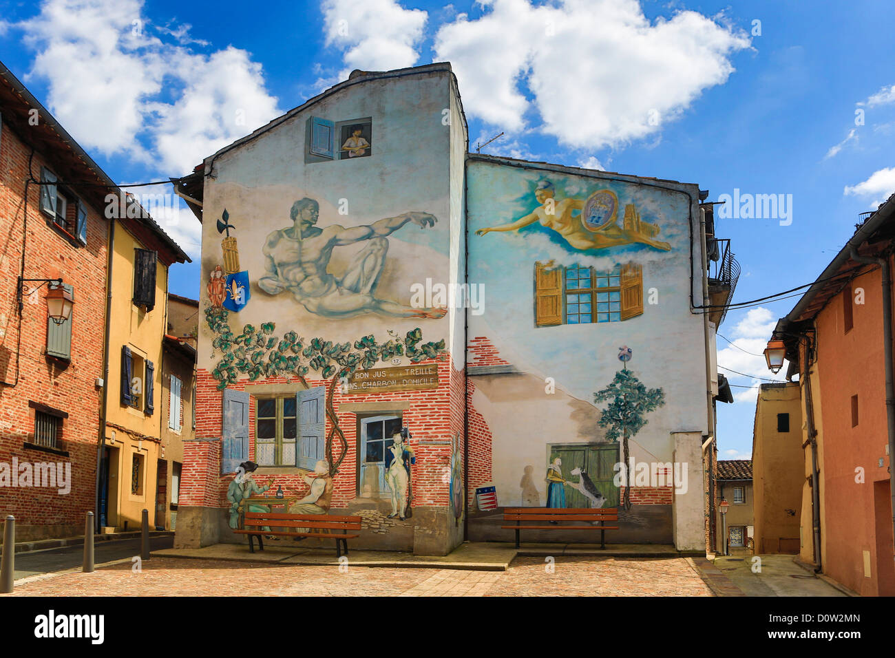 Frankreich, Europa, Reisen, Albi, Altstadt, Wandmalerei, Architektur, Kunst, künstlerische, bunt, mittelalterliche, Stockbild