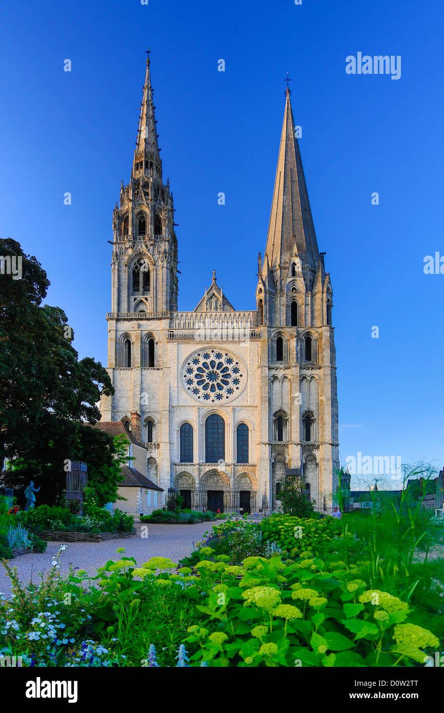 Frankreich, Europa, Reisen, Chartres, Kathedrale, Welt Erbe, Architektur, Geschichte, Haupt, mittelalterlich, Tourismus, Stockbild