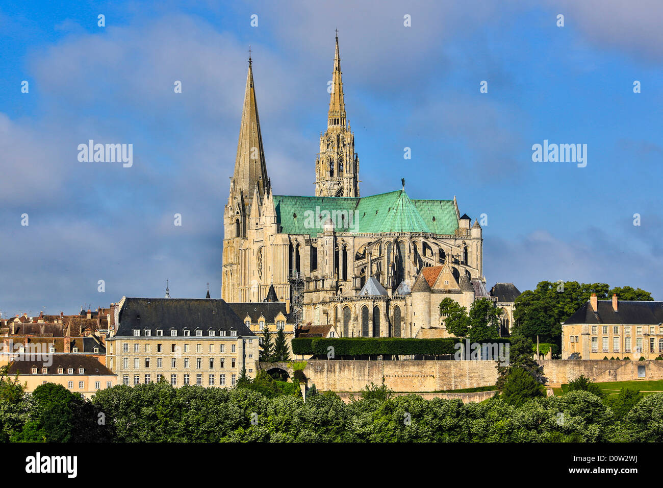 Frankreich, Europa, Reisen, Chartres, Kathedrale, Welterbe, Architektur, Geschichte, Mittelalter, Tourismus, Unesco Stockbild