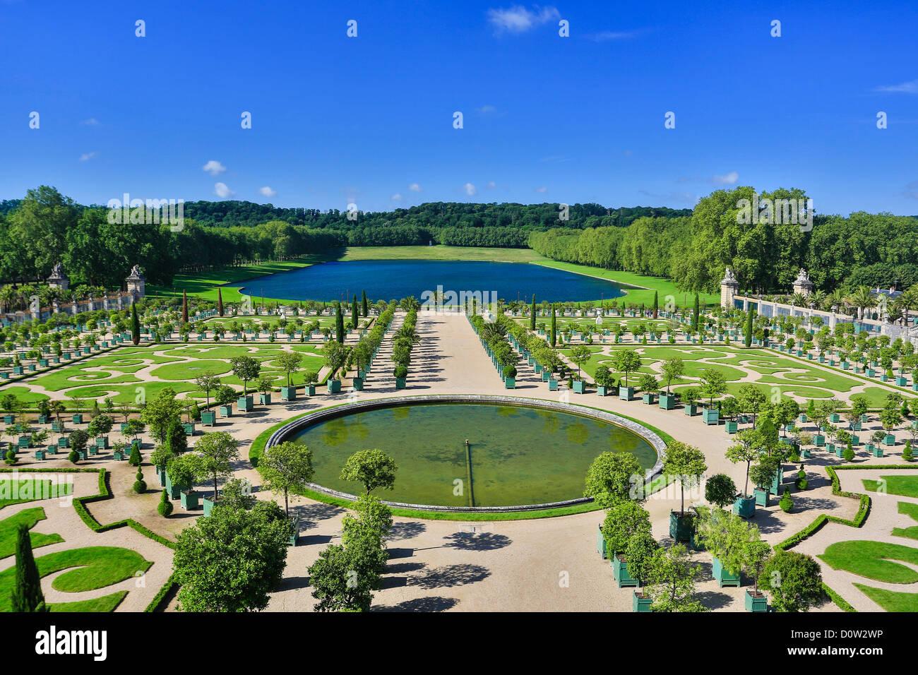 Frankreich, Europa, Reisen, Versailles, Weltkulturerbe, Gärten, Detail, Architektur, Park, Geschichte, Tourismus, Stockbild