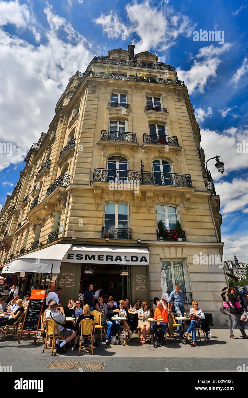 Frankreich, Europa, Reisen, Paris, Stadt, La Cite, Cafe, Terrasse, Architektur, Haus, außen, Touristen Stockbild