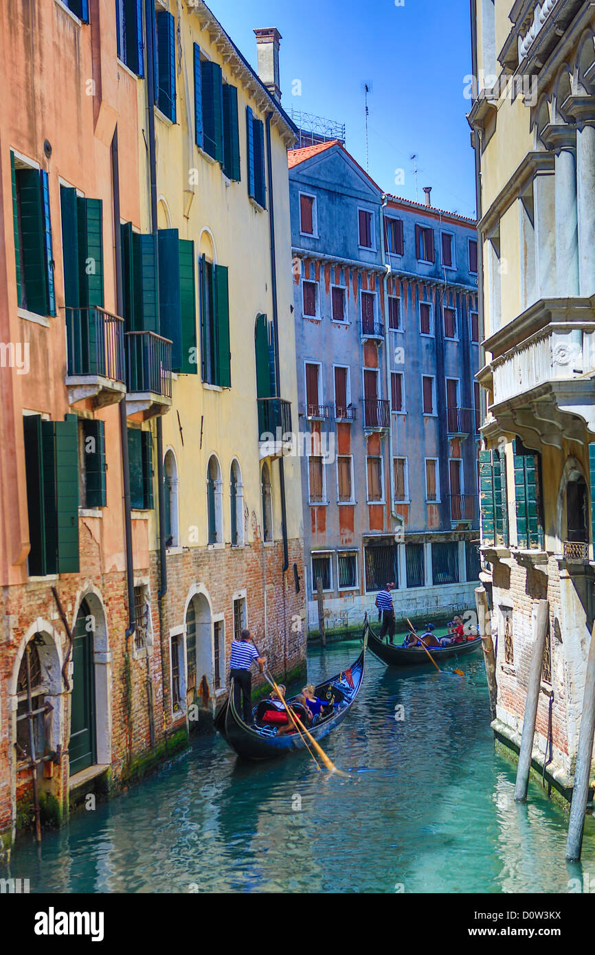 Italien, Europa, Reisen, Venedig, Gondeln, Boote, Kanal, Gondel, Tourismus, Unesco, Stockbild