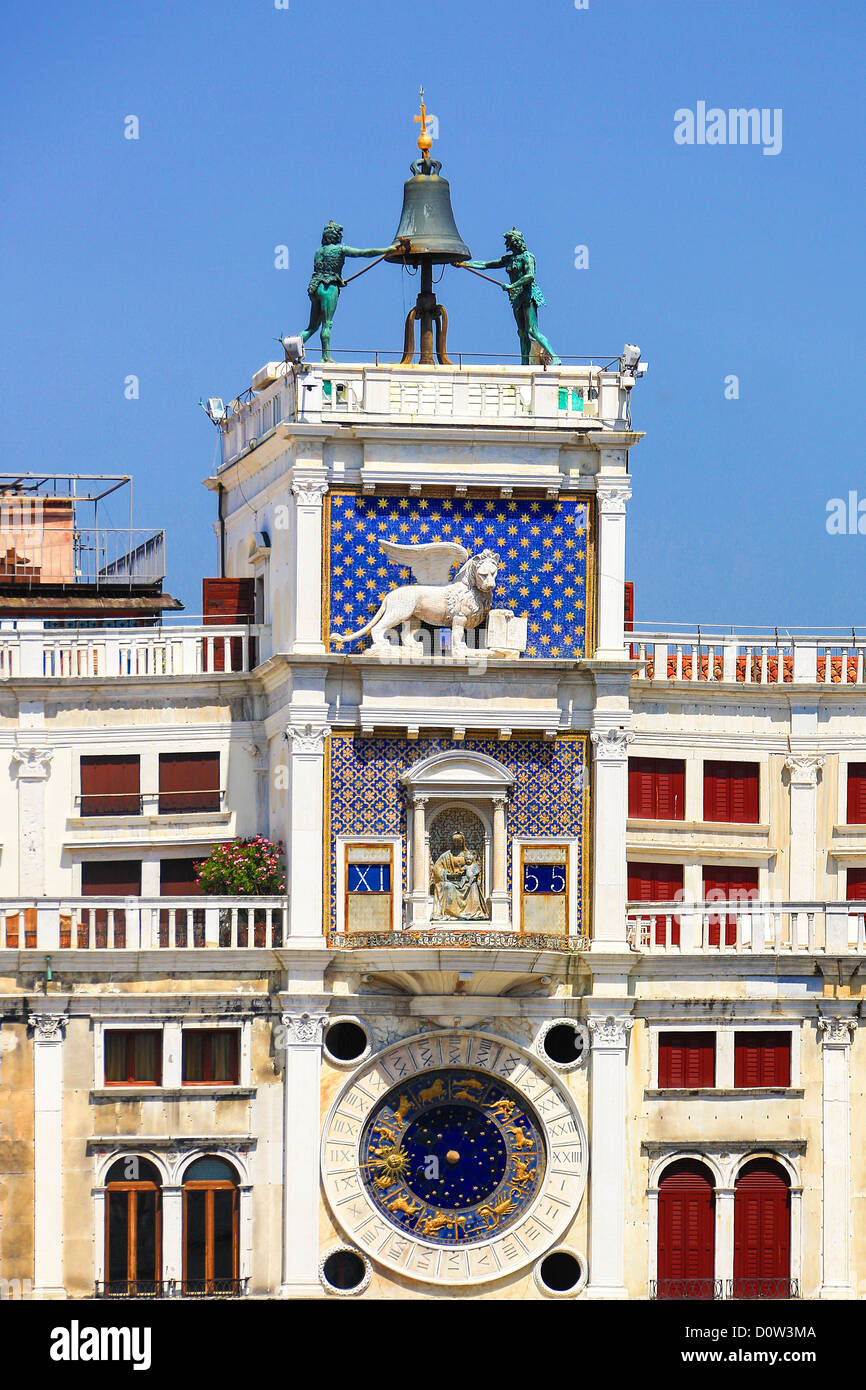 Italien, Europa, Reisen, Venedig, San Marco, Square, Uhrturm, Glocke, Uhr, Geschichte, Löwe, Symbol, Stockfoto