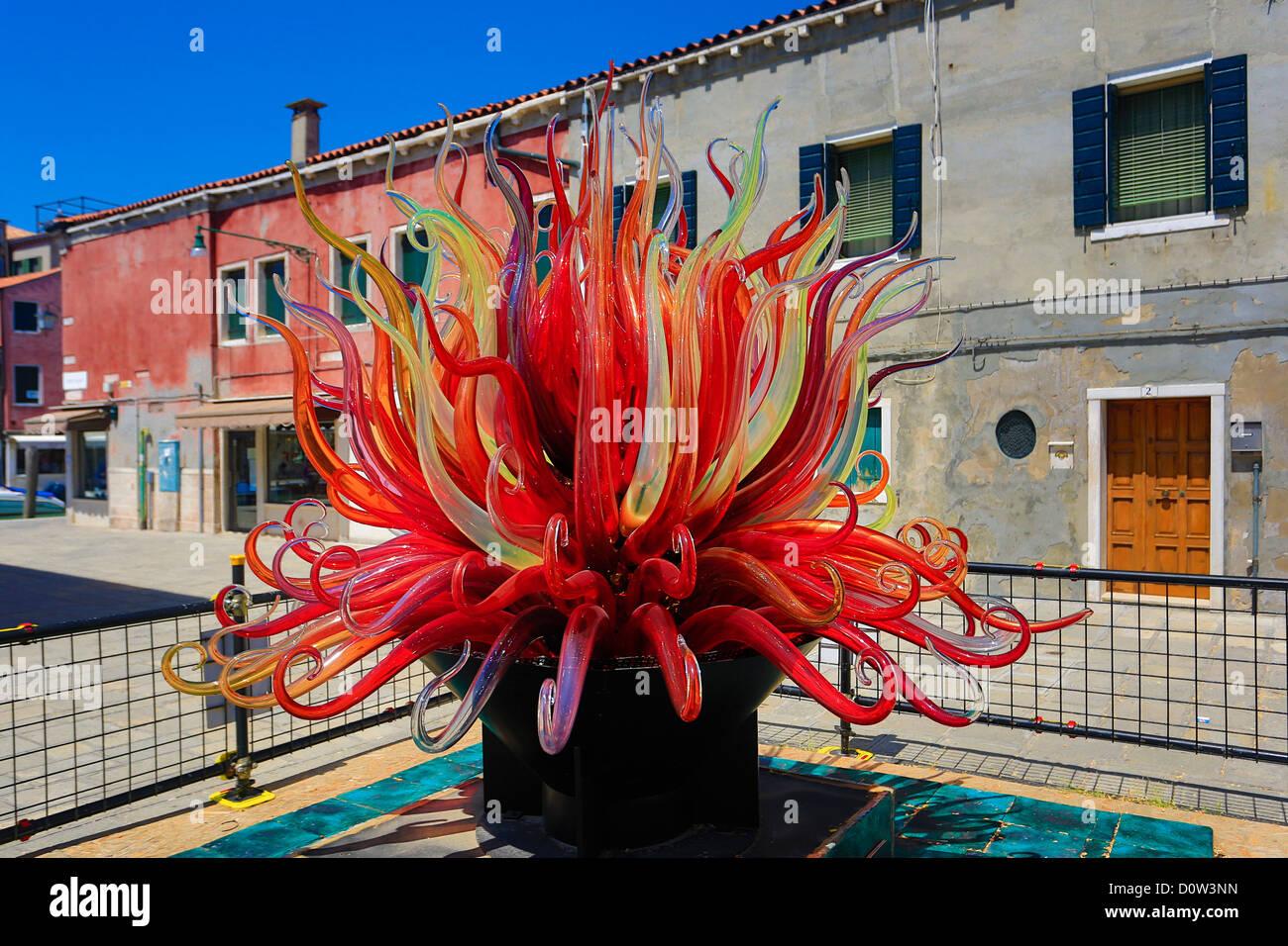 Italien, Europa, Reisen, Murano, Glas, Denkmal, rot, Tourismus, Unesco, Venedig Stockbild