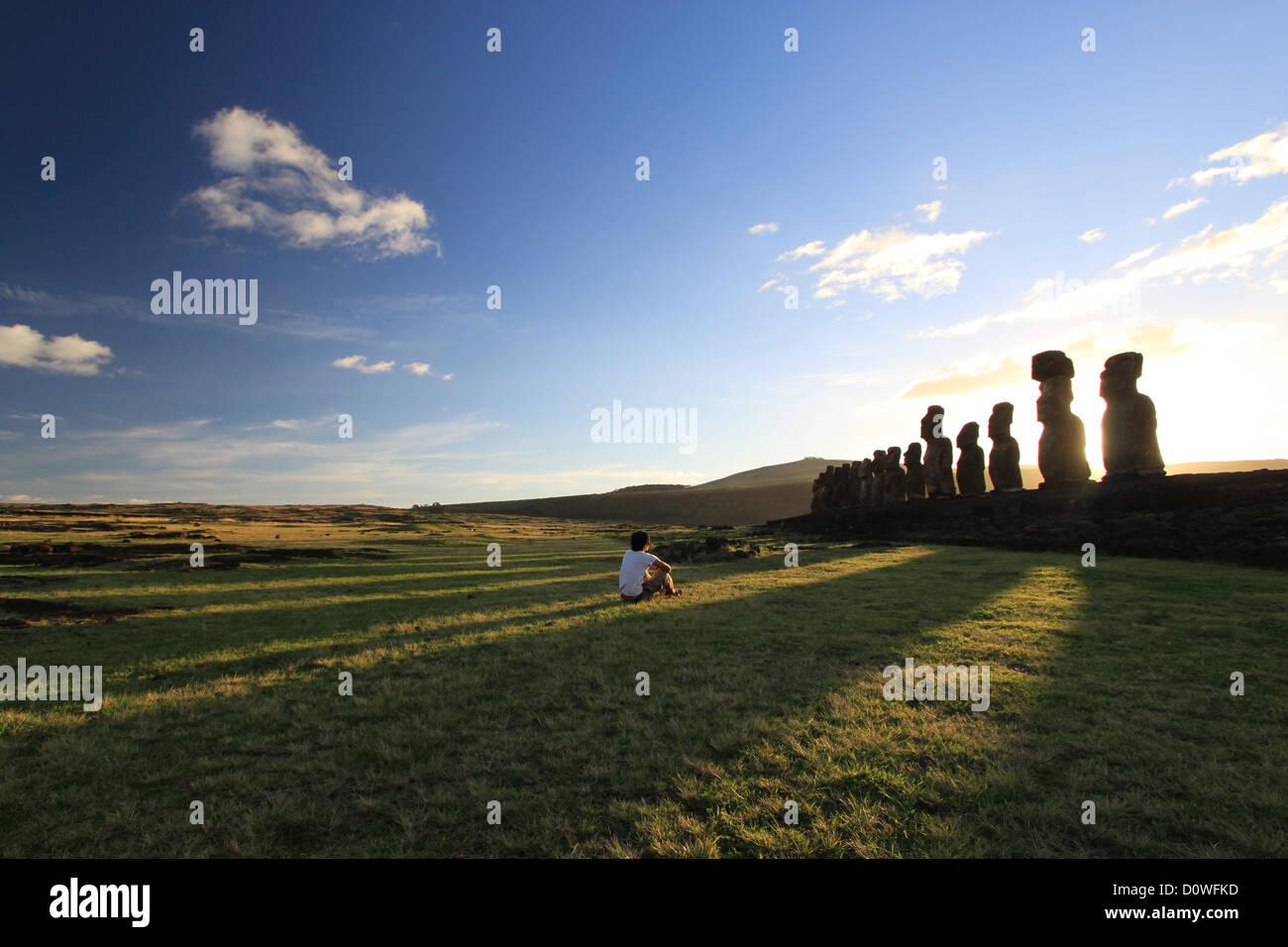 Aufwachen mit der Moai auf der Osterinsel Stockbild
