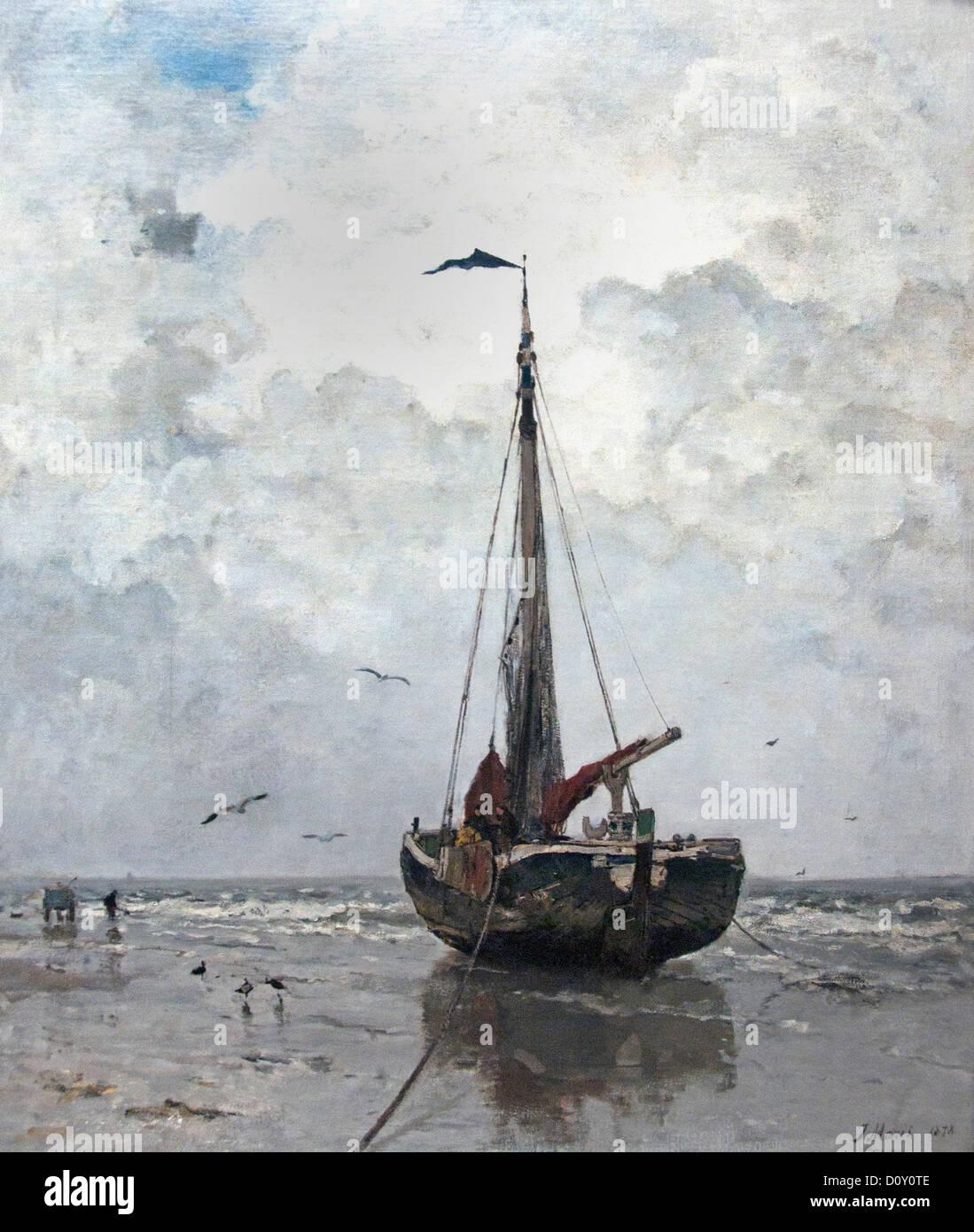 Angeln Boot 1878 Jacobus (Jacob) Hendricus Maris 1837-1899 (Angeln Boote Scheveningen den Haag Niederlande Meer) Stockbild