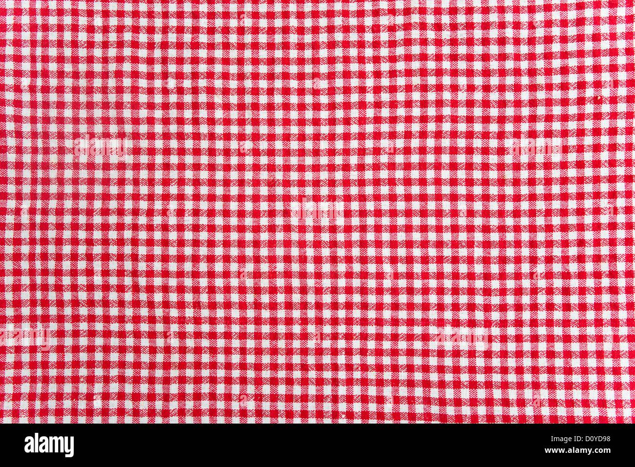 rote und weiße Tabelle Tuch Textur. Zusammenfassung Hintergrund Stockbild