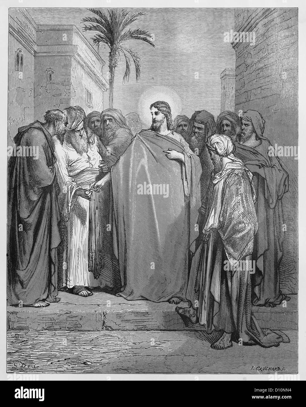 Jesus Christus und das Tribut-Geld Stockbild