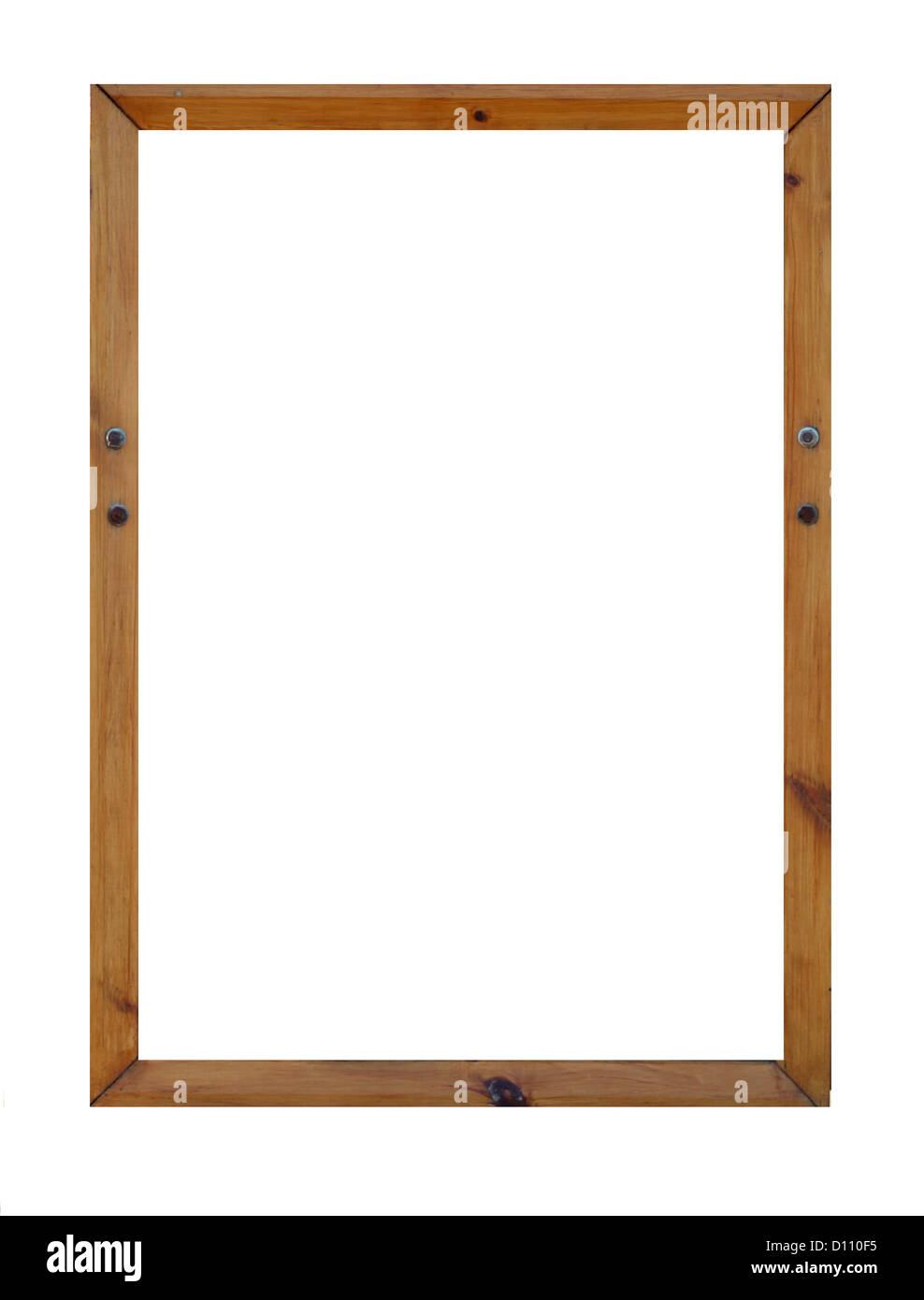 Leere Bilderrahmen aus Holz mit Textfreiraum. Stockbild