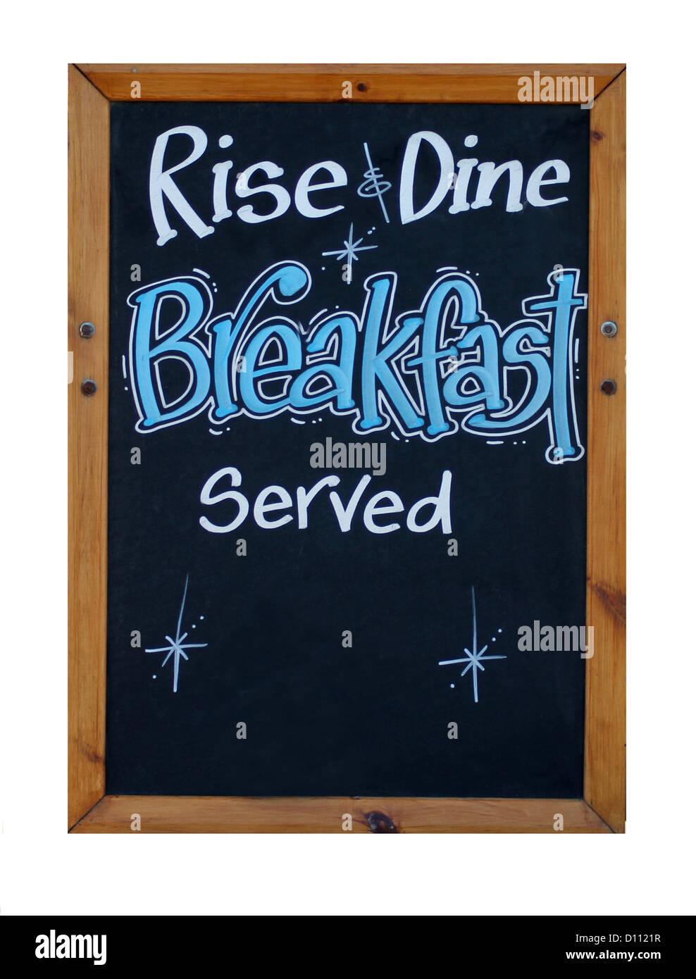 Steigen Sie und Speisen Sie Frühstück Zeichen isoliert auf weißem Hintergrund mit Textfreiraum. Stockbild