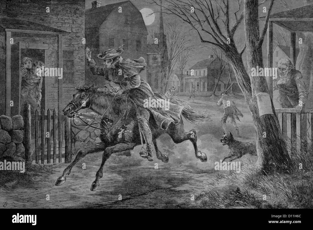 DER 1770ER JAHRE 19. APRIL 1775 ILLUSTRATION MITTERNACHT-FAHRT VON PAUL REVERE Stockbild