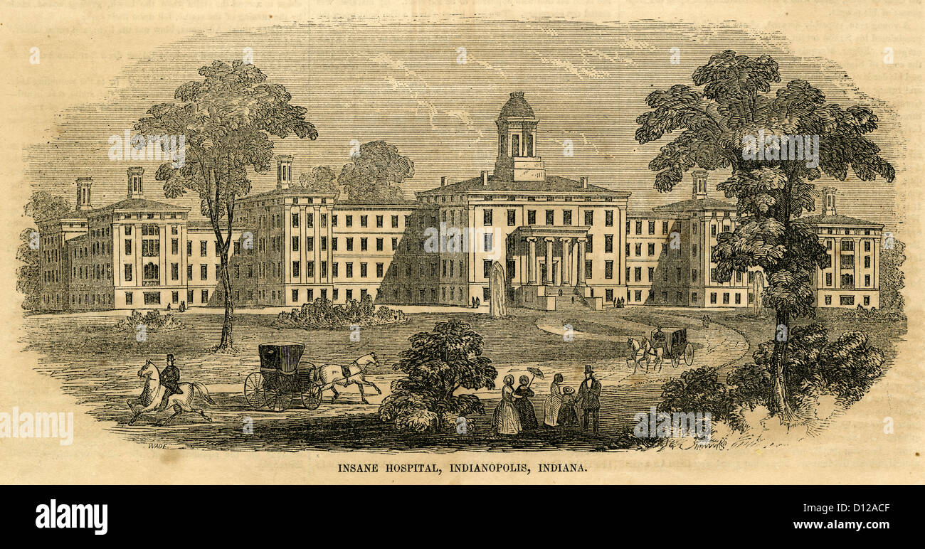 1854 Gravur, Central Indiana Hospital für Geisteskranke in Indianapolis, Indiana, gegründet 1848. Stockbild