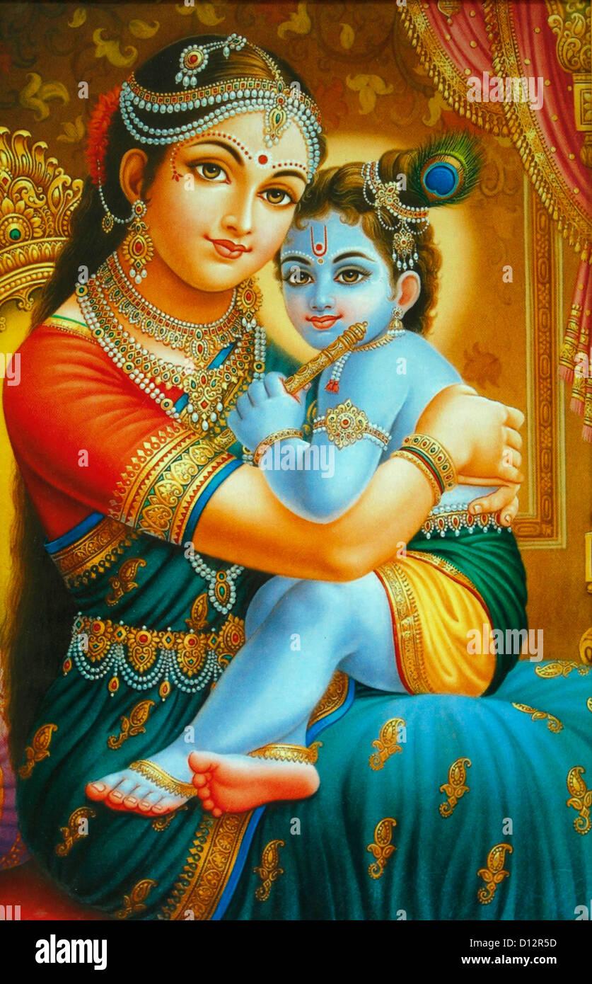Illustration von Yashoda und krishna Stockbild