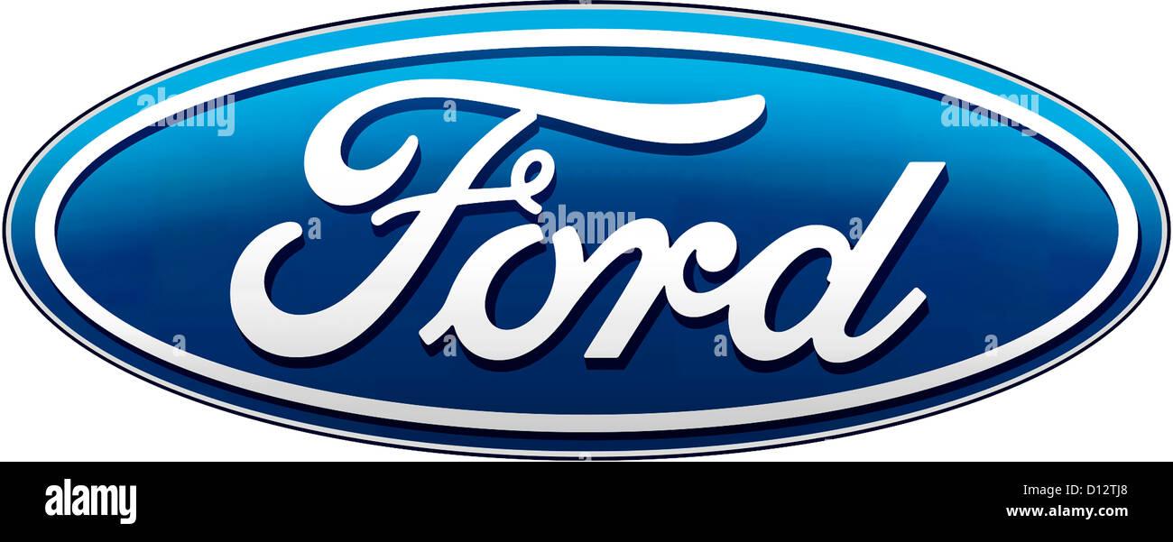 Logo des amerikanischen Automobilherstellers Ford Motor Company mit Sitz in Dearborn in des Bundesstaates Michigan. Stockbild