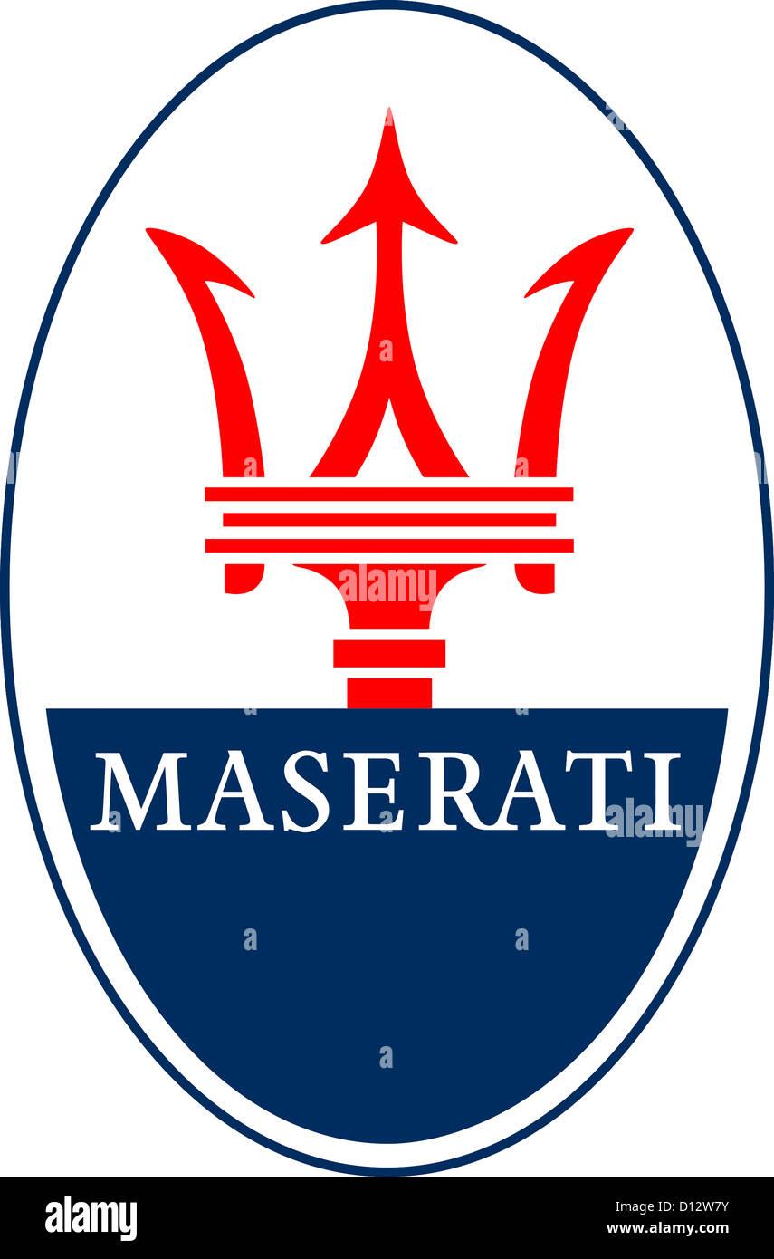 Logo des italienischen Sportwagenherstellers Maserati des Fiat-Konzerns mit Sitz in Modena. Stockbild