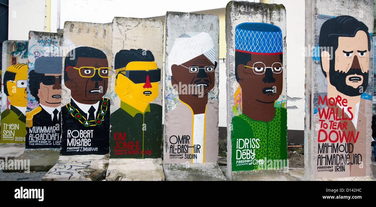 Welt-Diktatoren-Graffiti auf der Berliner Mauer Berlin Deutschland Stockbild