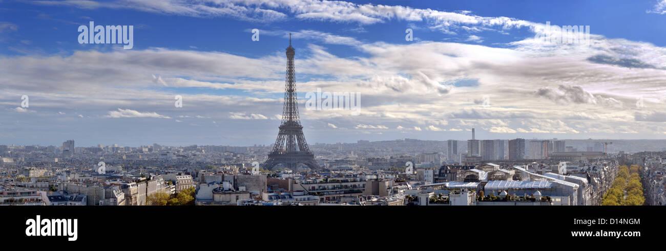 Die Eiffel-Turm und das Panorama von Paris. Stockbild