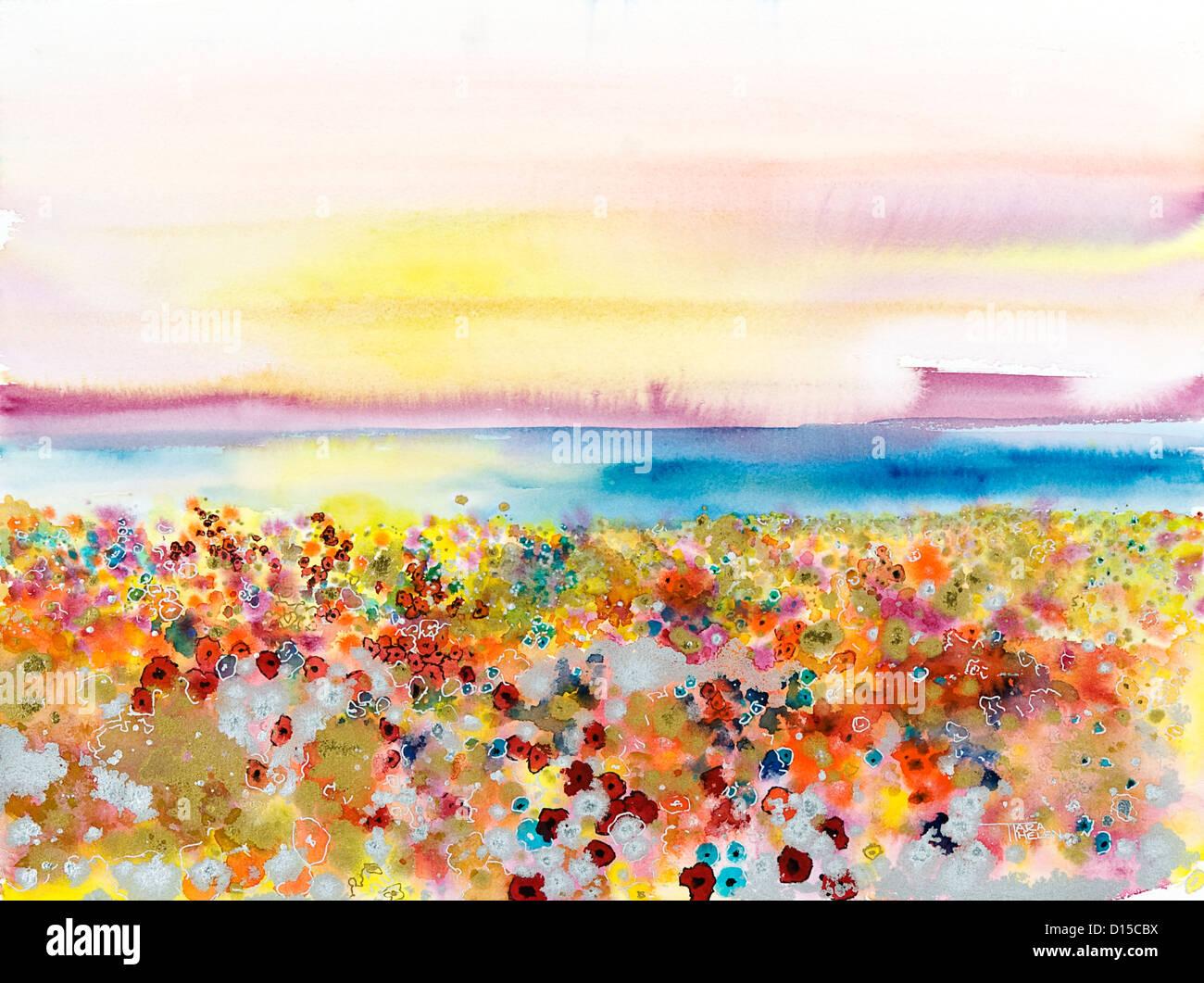 Bereich Der Freude Abstrakte Landschaft Von Bejeweled Blumenfeld Aquarell Stockfotografie Alamy