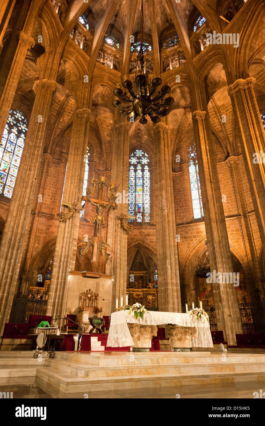 Barcelona, Spanien: High Altar in der Kathedrale von Barcelona Stockbild