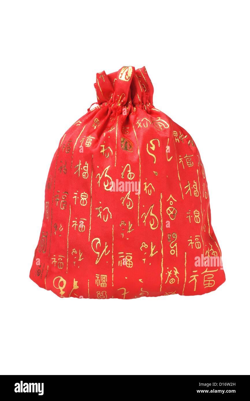 Chinese New Year Wohlstand Tasche auf weißem Hintergrund Stockbild