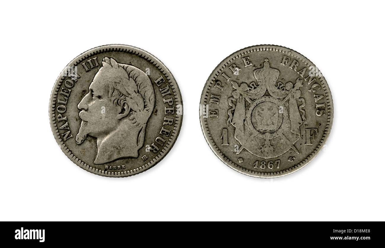 1867 Eine Franken Münze Aus Frankreich Mit Einem Porträt Von Kaiser