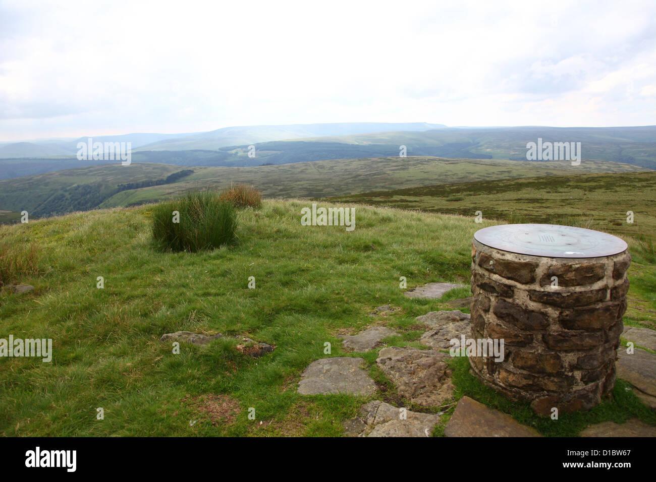 Orientierungstafel auf verloren Lad Derwent Rand Böschung über dem oberen Derwent Valley Derbyshire Dark Stockbild