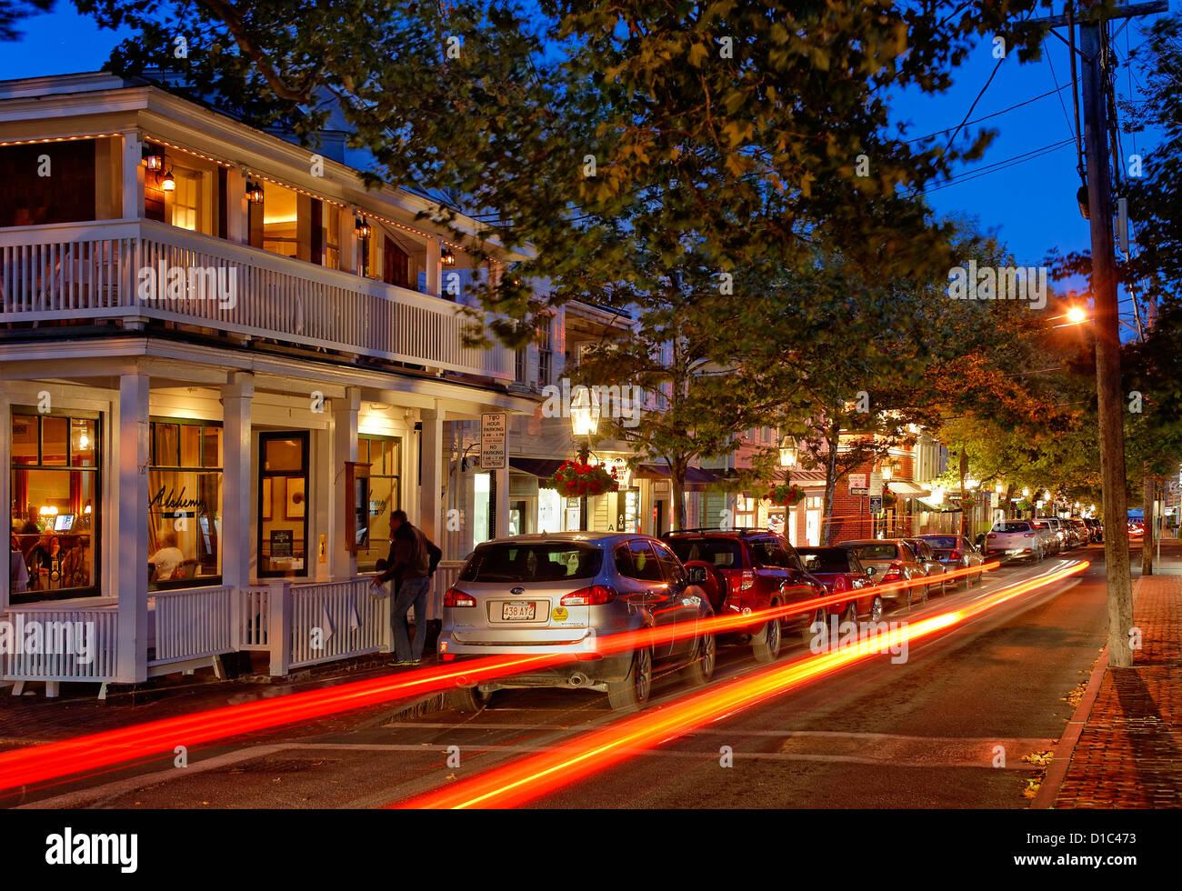 Edgartown Nachtleben, Martha's Vineyard, Massachusetts, USA Stockbild