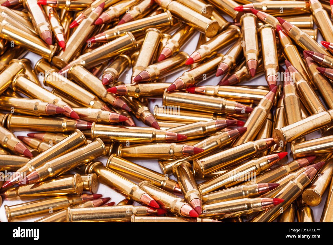 Eine Auswahl von 17 GR. V-Max hohe Geschwindigkeit Gewehrkugeln Stockbild