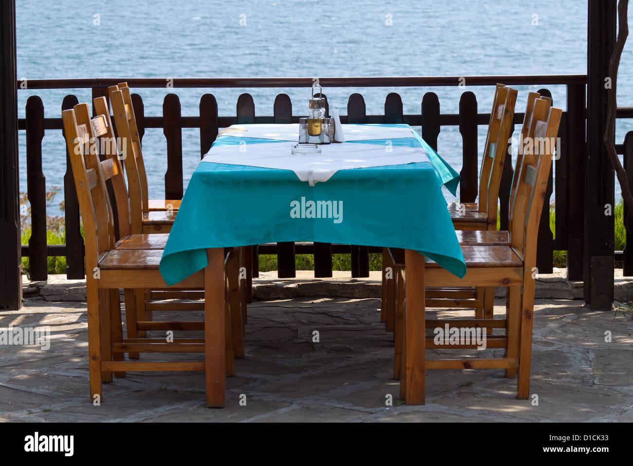 Restaurant-Landschaft in Nessebar, Bulgarien Stockfoto