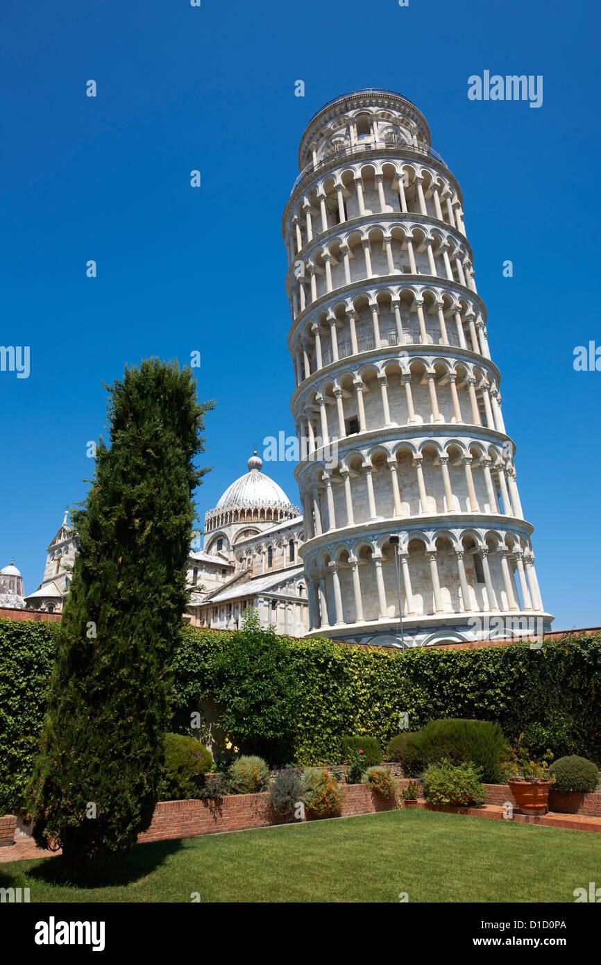 Der Schiefe Turm von Pisa, Italien vor blauem Himmel Stockbild