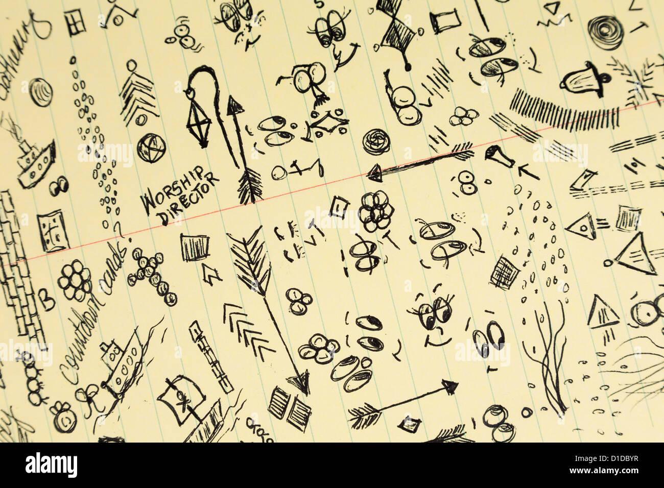 Kritzeleien und Notizen auf Papier Steno-pad Stockfoto
