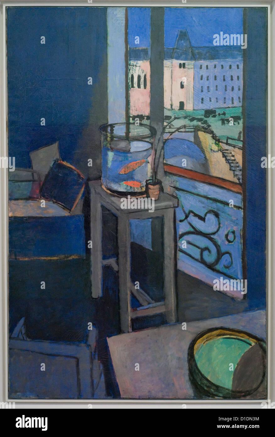 Henri Matisse Intérieur, s-Rohr de Poissons Rouges - Interieur, Goldfish bowl 1914 Pompidou Zentrum für Stockbild