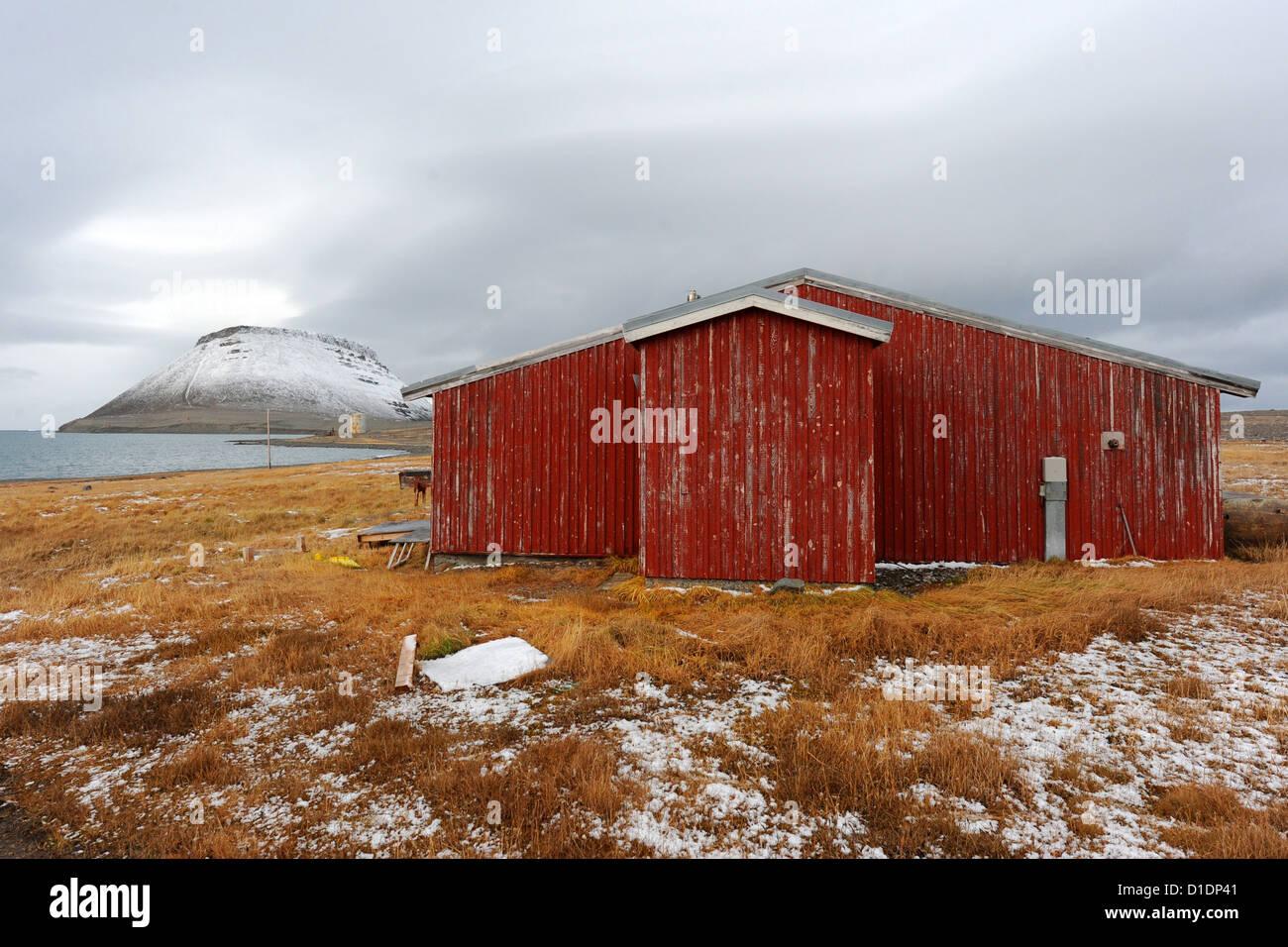 Ein remote Jagd-Camp in der Nähe von Mount Dundas 14. September 2012 in Dundas, Grönland. Stockbild