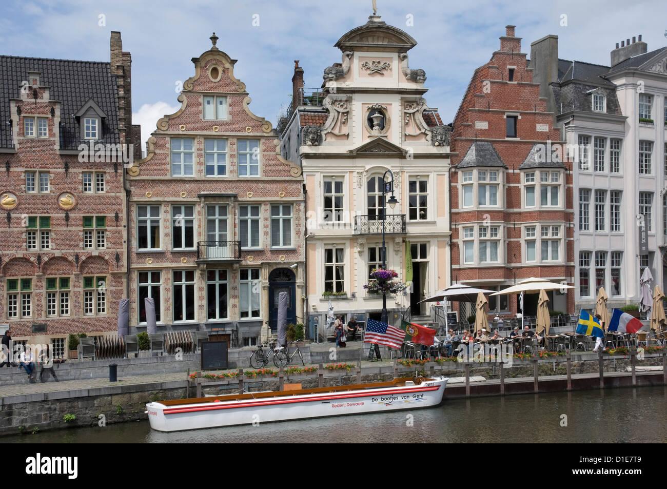 Barockstil flämischen Architektur entlang der Graslei, Gent, Belgien, Europa Stockbild