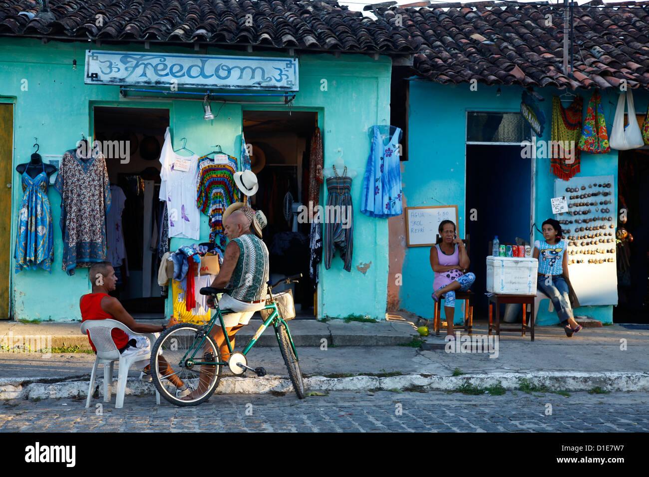 Bunten Häuser in der historischen Mitte von Arraial d ' Ajuda, Bahia, Brasilien, Südamerika Stockbild