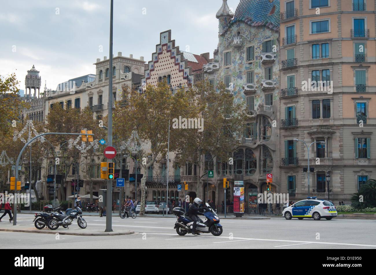 Casa Batllo von Gaudi und Casa Amatler Cadafalch, Barcelona, Catalunya (Katalonien) (Cataluna), Spanien, Europa Stockbild