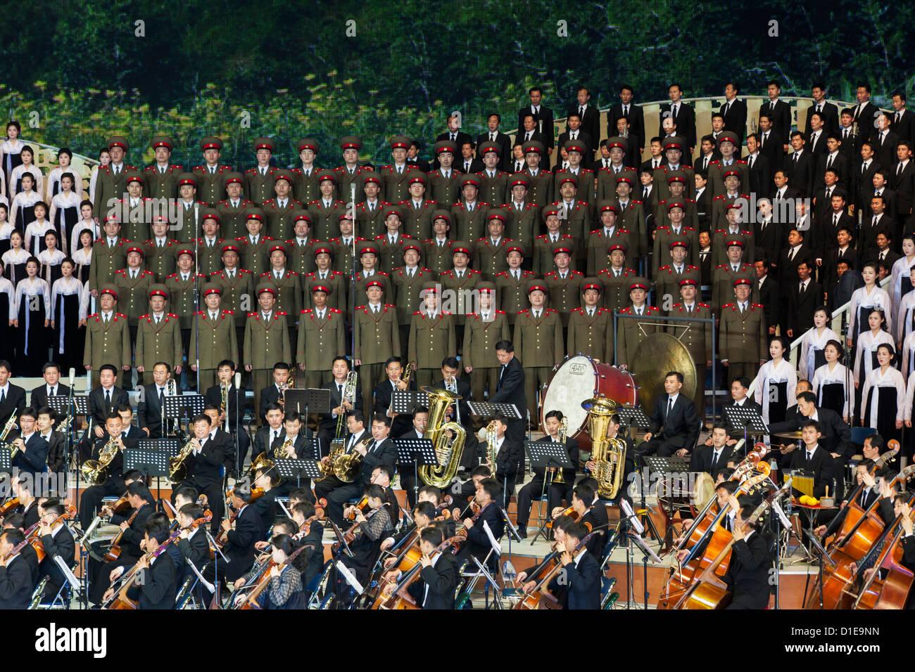 Hallenstadion Pjöngjang Leistung, Pyongyang, Demokratische Volksrepublik Korea (DVRK), Nordkorea, Asien Stockbild