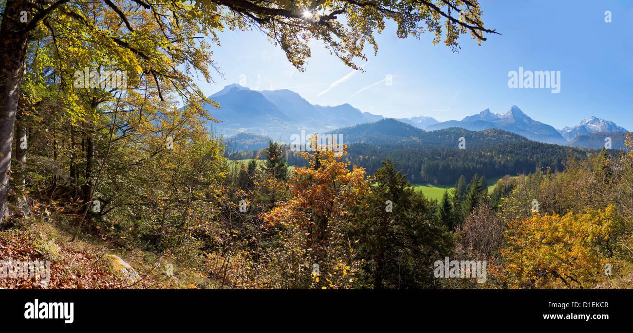 Watzmann Und Dem Hochkalter, Berchtesgadener Alpen, Bayern, Deutschland, Europa Stockbild