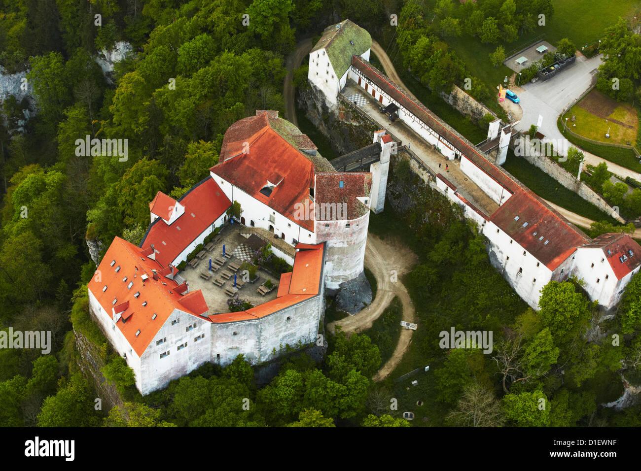 Luftaufnahme der Burg Wildenstein, Sigmaringen, Deutschland Stockbild