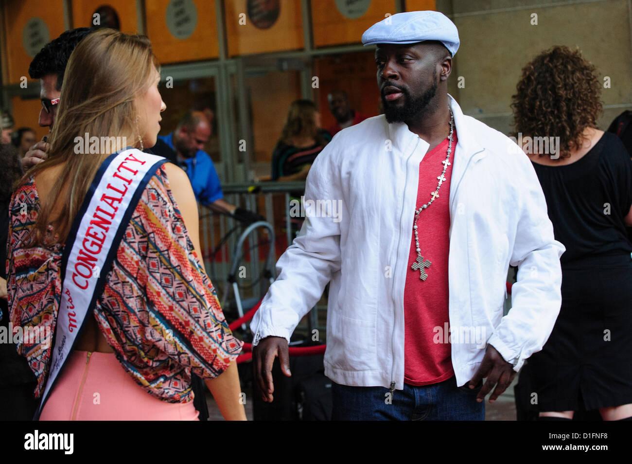 Hatian-kanadische Musiker und Aktivist Wyclef Jean besucht die Ryerson University Theatre während 2012 Toronto Stockbild