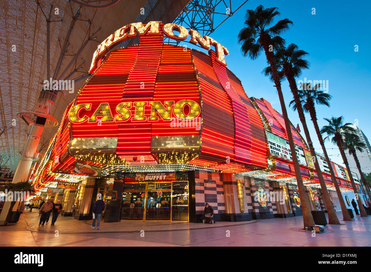Fremont-Casino und der Fremont Street Experience, Las Vegas, Nevada, Vereinigte Staaten von Amerika, Nordamerika Stockbild