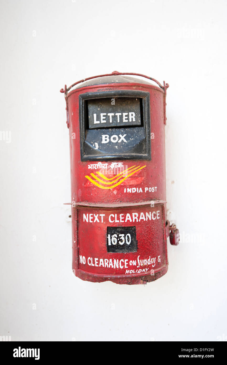 India Post Briefkasten, Orissa, Indien, Asien Stockbild