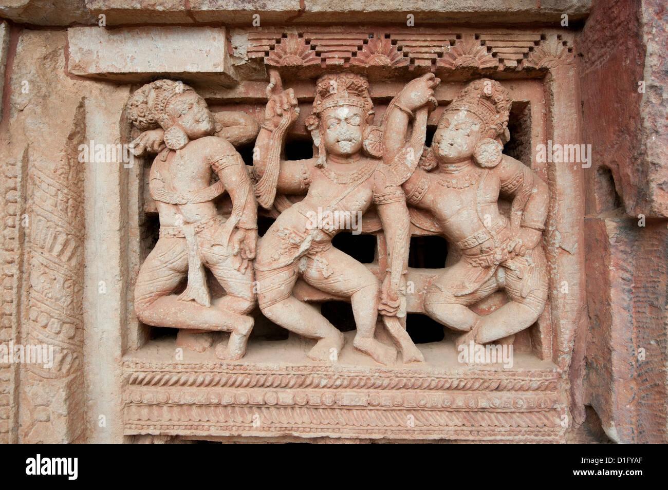 Wunderschön geschnitzte Fenster in der Parasurameswar Hindu-Tempel gewidmet Lord Shiva, Bhubaneshwar, Orissa, Stockbild