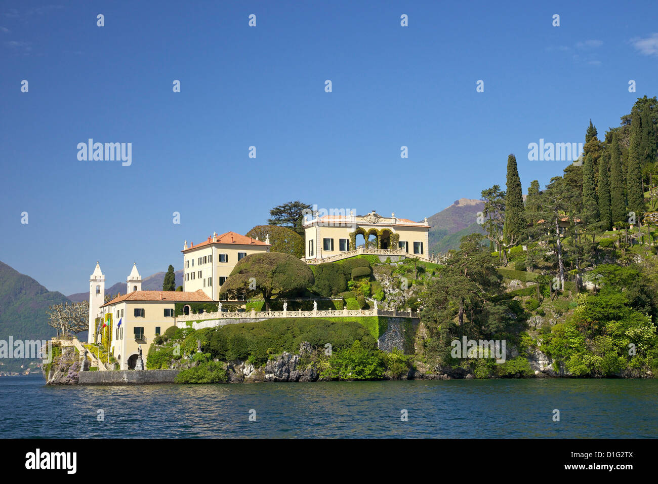 Villa del Balbianello auf Punta di Lavedo im Frühling Sonnenschein, Comer See, italienische Seen, Italien, Stockbild