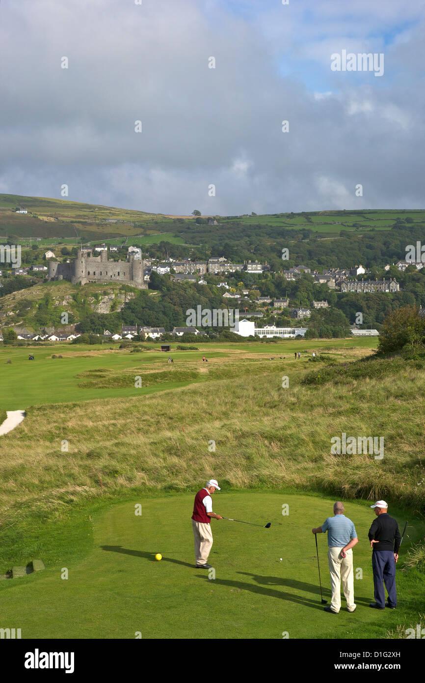 Royal St. Davids Golf Club und Harlech Castle im Sommersonnenschein, Harlech, Gwynedd, Wales, Vereinigtes Königreich, Stockbild